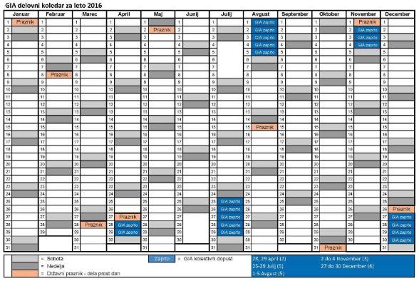 Delovni koledar GIA-S d.o.o. za leto 2016