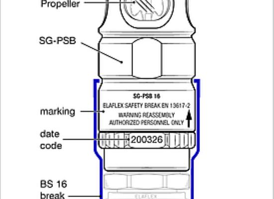 Elaflex SG-PSB 16: NOVA pretržna spojka z pokaznim steklom