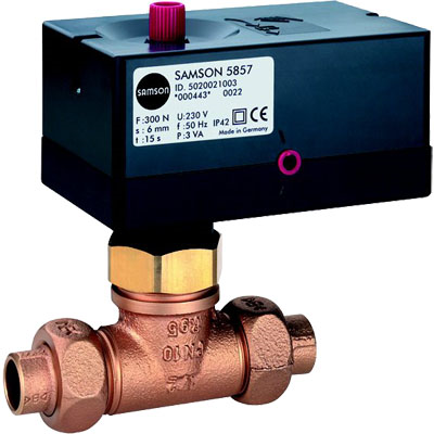 Prehodni ventili z EM pogonom in navojnimi ali varilnimi priključki