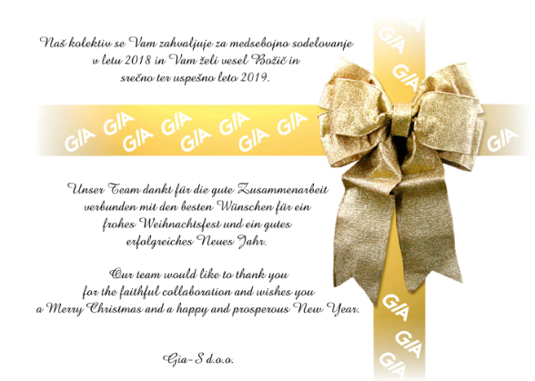 Vesel božič in srečno novo leto vam želi ekipa GIA-S